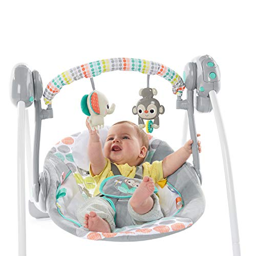 Image of Bright Starts Whimsical Wild Portable Compact Automatic Swing with Melodies