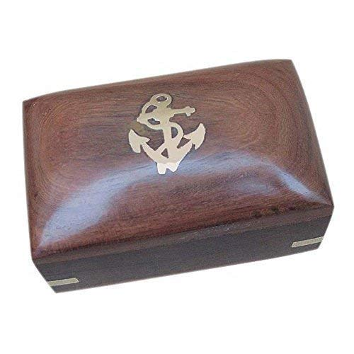 linoows Maritime Holzbox mit Messing Intarsie, Box aus Sheesham Holz