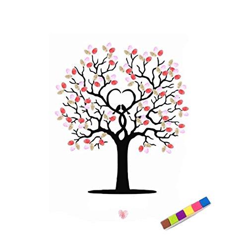Aiming DIY Boda Firma Huellas Dactilares árbol Invitados Libro de Pintura de Lienzo con un Inkpad 40 * 60 cm