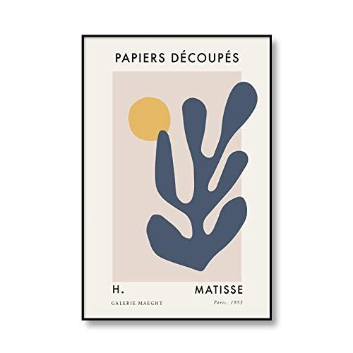 Arte abstracto hueco cuerpo femenino hoja impresión Henry Matisse cartel de exposición cuadro de pared sin marco lienzo pintura A4 60x90cm