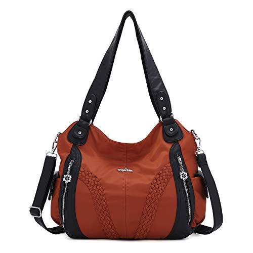 Angelkiss Women Top Handle Satchel Handbags Shoulder Bag Messenger Tote Washed Leather Purses Bag (Brown-Nylon) …