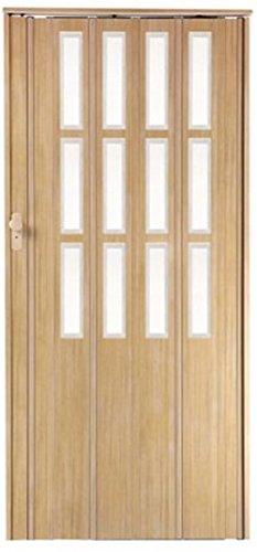 Falttür Schiebetür Sonoma eiche hell farben mit Schloß und Fenster Höhe 203 cm Einbaubreite bis 85 cm Doppelwandprofil abschließbar
