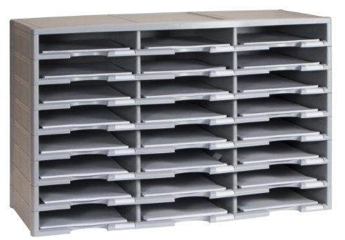 Storex Modular 24-Compartment Literature Organizer, Gray
