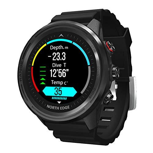 North Edge Smartwatch con Schermo A Colori Full Touch Fitness Tracker Cardiofrequenzimetro Pressione Sanguigna Bussola Temperatura Bluetooth Orologio Subacqueo Adatto per Android E iOS