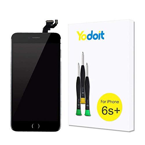 Yodoit para Pantalla iPhone 6s Plus Completa Negro, Conjunto de LCD y digitalizador Reemplazo de la táctil de Vidrio con Marco Repuestos (cámara Frontal, Botón Home) + Herramienta (5,5 Pulgadas)