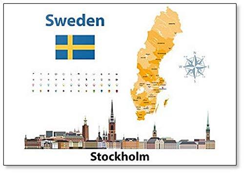 Illustratie van Zweden provincies kaart met Stockholm City Skyline Koelkast Magneet