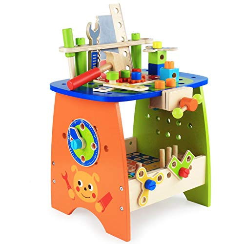 tanbea-DE Kinderwerkbank Kinder-Werkzeugbank-Set Bauwerkzeug-Sets Geben Sie vor, Spielzeug mit 88 Arten von...