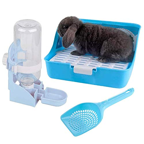 Rabbit Litter Box Bunny Water Bottle,Small Animal Litter Cage Potty Pet Cage 17oz Hanging Water Fountain Automatic Dispenser No Leak WaterFeeder for Chinchilla Guinea Pig Hedgehog Ferret(Blue)