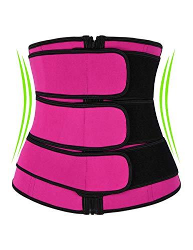 IMUZYN Women's Waist Trainer for Weight Loss Body Shaper Trimmer Belt Workout Sweat Corsets Cincher Shapewear Tummy Control Band Abdomen Girdle Slimmer Rose Red XL