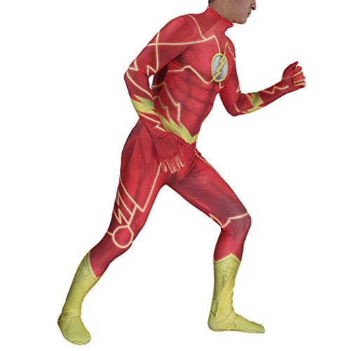 SJJYP The Flash Cosplay Anime Costume, Kids Adult Tights Superhero Tuta per Fancy Dress Up Halloween Collas Battle Suit,Red-Kids M (110~120cm)