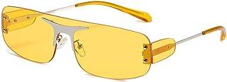 نظارات شمسية من دون اطار بتصميم مربع من قطعة واحدة للرجال والنساء، نظارات كلاسيكية UV400