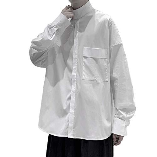 Camisa de Manga Larga con Cuello Alto para Hombre Ropa de Calle Relajada Diseño de Personalidad de Color sólido Tendencia Camisas para Exteriores M