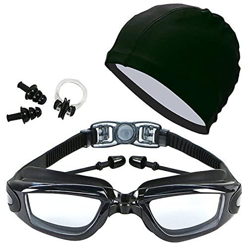 YFAX Gafas Natacion, Gafas de natación para Adultos, el Juego de 4 Piezas Contiene Gafas de natación, Pinza Nasal, Tapones para los oídos y Gorro de natación, Unisex.