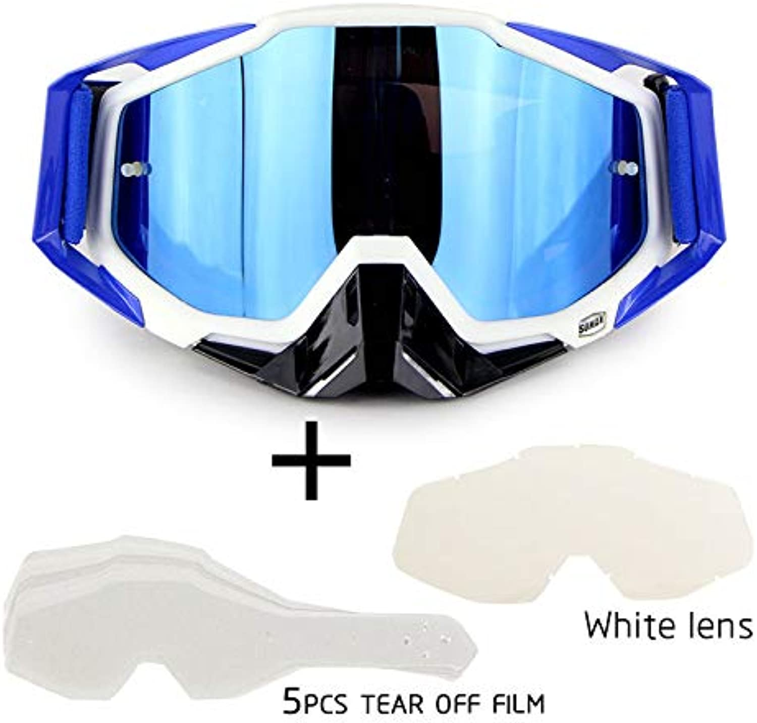Cycling Motocross Glasses Racing ATV Goggles with 2 Lenses for Men Women