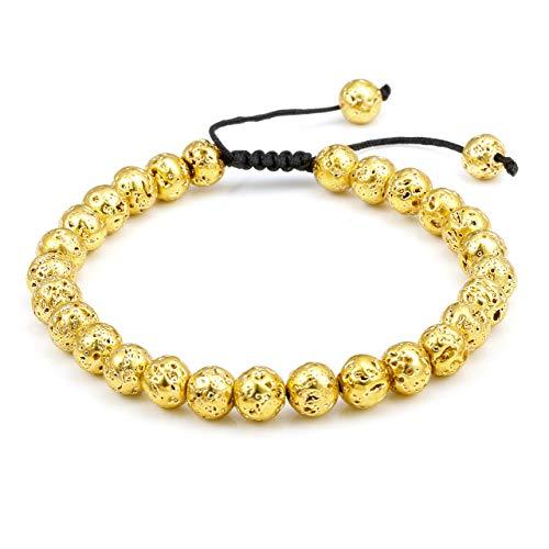 Top Plaza Men Women Lava Rock Stone Bracelet Aromatherapy Essential Oil Diffuser Bracelet Adjustable Beads Bracelet,Gold Tone