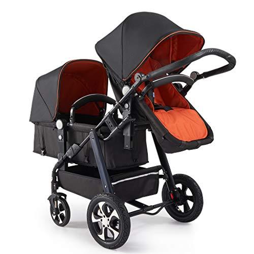 Lichte dubbele kinderwagen, inklapbare zitting of verstelbare luifel en 5-punts pedaalriem voor eenvoudig transport, geschikt voor tweelingen