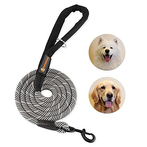 Correa de perro de 6 pies con asa acolchada correas para perros pequeños, medianos y grandes, entrenamientos, senderismo, color blanco y negro