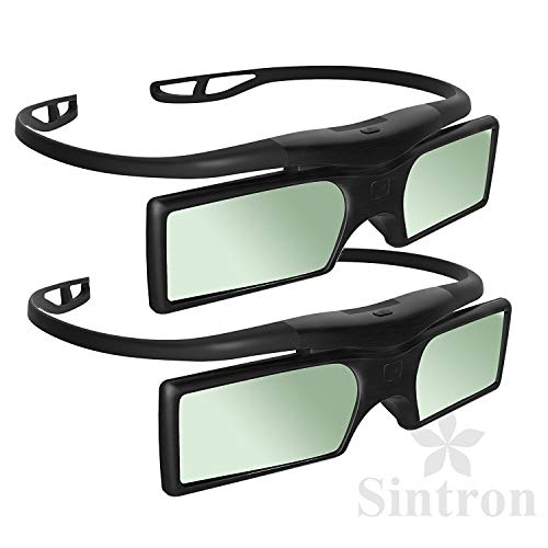 [Sintron] 2X Universal 3D RF Active Shutter Glasses gafas Bluetooth for 2014 ~ 2018 Sony Samsung Panasonic 3D TV & Epson Projector , Compatible with TDG-BT500A TDG-BT400A (2 Pairs) , Black, 27g