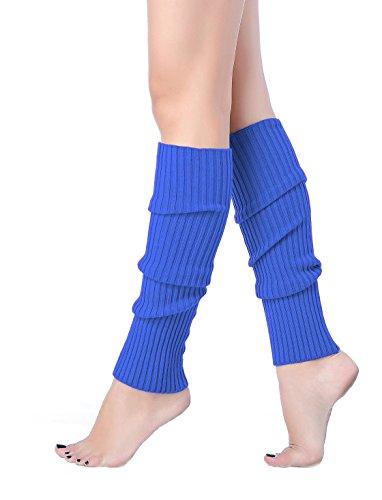 V28Women Winter Warm Leg Warmers Knitted Long Socks (one size, Blue)