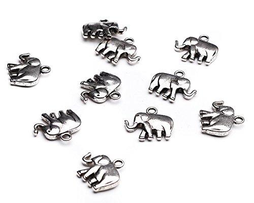 Beads Unlimited 21x 18x 5mm Metall Tibetan Style Elefant Schmuck Charme, 10Stück, Antik Silber