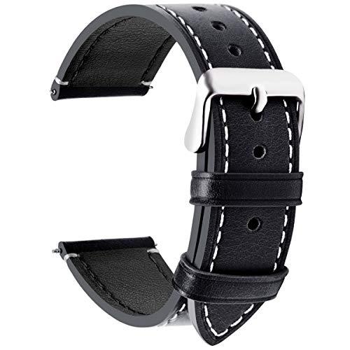 Fullmosa Wax Correa Reloj Piel,6 Colores para Correa Huawei Samsung, Correa/Banda/Band/Pulsera/Strap de Recambio/Reemplazo de 14mm 16mm 18mm 20mm 22mm 24mm, Negro + Hebilla de Gris Plata,20mm