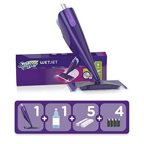 Swiffer WetJet Balai, Kit complet 1 Balai Spray + 5 Lingettes + 1 Solution Nettoyante Liquide + 4...