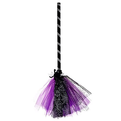 Escoba mágica de bruja para Halloween, disfraz decorativo, accesorio para fiestas de disfraces, carnaval, Halloween, cosplay, decoración de fiesta de bruja, color lila
