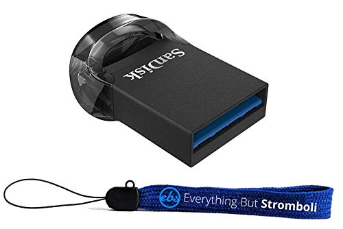 SanDisk 32GB Ultra Fit USB 3.1 Flash Drive Low Profile (SDCZ430-032G-G46) High Speed Memory Pen Drive Bundle with (1) Everything But Stromboli Lanyard