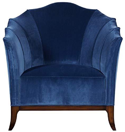 Casa Padrino sillón Art Deco de Lujo Azul/marrón Oscuro - Sillón de salón de Madera Maciza Hecho a Mano con Tela de Terciopelo Fino - Muebles de Sala Art Deco