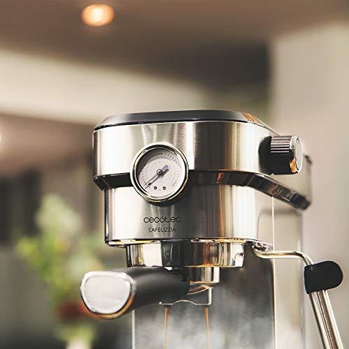 Cecotec Cafetera express Cafelizzia 790 Steel Pro. Acero Inoxidable, Sistema Thermoblock, 20 Bares, ModoAuto 1 y 2 Cafés, Vaporizador Orientable, Conducto de agua para Infusiones