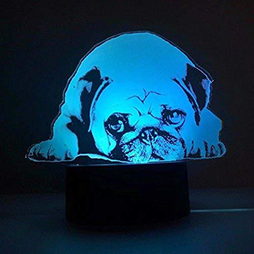 Jinson well 3D Französische Bulldogge hund Nachtlicht Lampe optische Nacht licht Illusion 7 Farbwechsel Touch Switch Tisch Schreibtisch Dekoration Lampen Weihnachtsgeschenk mit Acryl USB Spielzeug