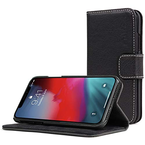 Snugg iPhone XR Wallet Case – Leather Card Case Wallet with Handy Stand Feature – Legacy Series Flip Phone Case Cover in  Blackest Black