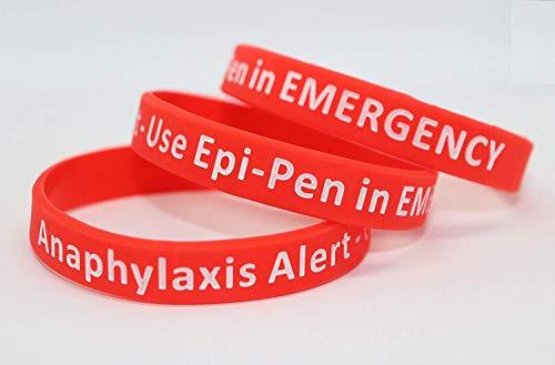 Medicaband Anaphylaxis Epi-Pen Medizinisches Notfallarmband aus Silikon, Rot, Einheitsgröße 212 mm, Standardgröße für Erwachsene