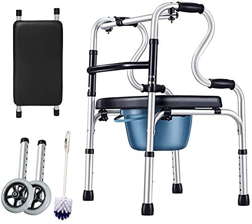 Walker Caminata de ancianos de acero Silla de ducha de inodoro plegable de acero con rueda y cojín de PU, 396 lbs de capacidad de peso (Color : Default)