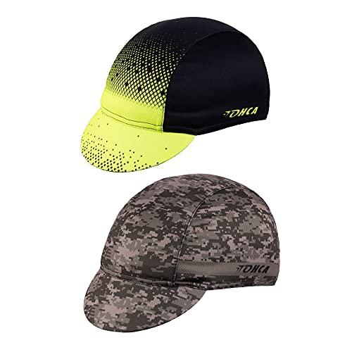 Lohca Cappellino da Ciclismo Pacco da 2, Berretto Estivo, Extra Leggero. Berretto da Ciclismo, Berretto da Baseball Traspirante, Asciugatura Rapida, Protezione UV, Verde Neon + Verde Mimetico