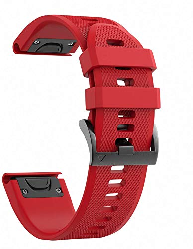 NotoCity Compatible con Correa Garmin Fenix 5/Fenix 5 Plus/Fenix 6/Fenix 6 Pro/Forerunner 935/Forerunner 945, Easy Fit 22 mm Pulsera Fitness de Silicona, Rojo