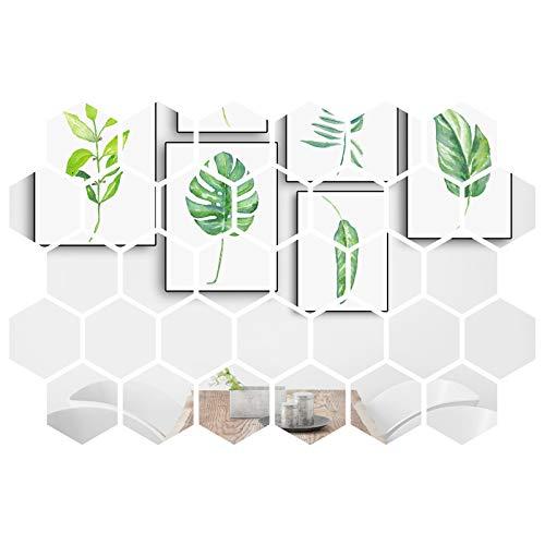 MicButty Spiegelaufkleber, 32 Stück Spiegel Wandaufkleber Acryl Spiegel Wand Dekor 3D Sechseck Wandspiegel Aufkleber für Junge Mädchen Kinderzimmer, Wohnzimmer, Schlafzimmer(Silber, 126 x 110 x 63 mm)