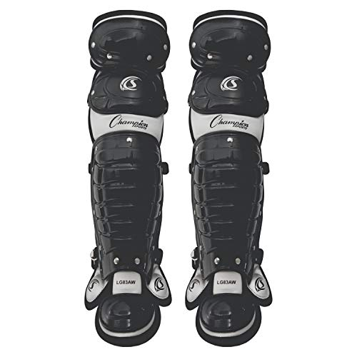 Champion Sports Baseball Catcher Leg Guards: Double Knee Shinguard with Wings for Baseball and Softball - Pair of 13' Shin Pads for Youth - Black & Gray