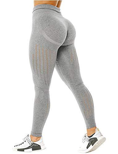 Leggings de cintura alta para mujer, sin costuras, pantalones para entrenamiento, yoga, efecto de levantamiento de glúteos, control de abdomen, Leggings, M