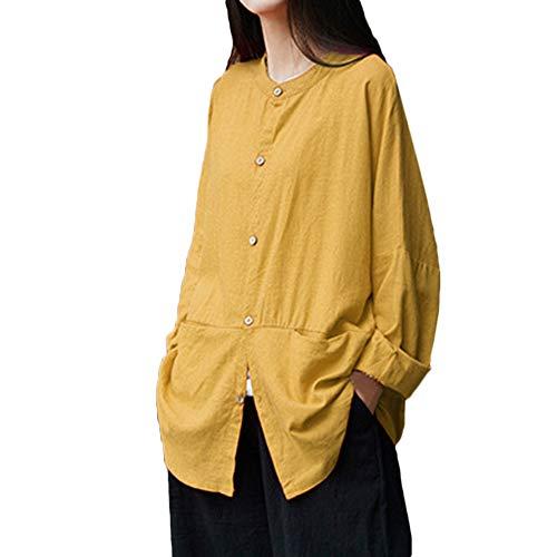 MRULIC Damen Leinen Gemütlich Leinen Dünnschnitt Lose langärmelige Bluse T-Shirt Pullover(Y4-Gelb,EU-44/CN-XL)