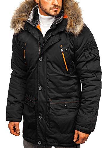 BOLF Herren Winterjacke Parka Fellkapuze Wintermantel Lange Street Style J.Boyz 1067 Schwarz XL [4D4]