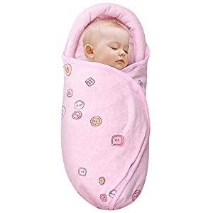 Knirose Newborn Swaddle Blanket & Unisex Infant Wrap, with Head-Protecting & Head-Supporting Function, Made of Combed Cotton (Button, Pink, 0-3 Months)