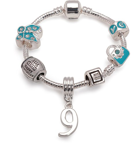 Bling Rocks Liberty Charms Childrens Blue Happy 9th Birthday Personalised with Initial Silver Plated Charm Bead Bracelet. with Gift Box & Velvet Pouch. Girls Kids Gift (Other