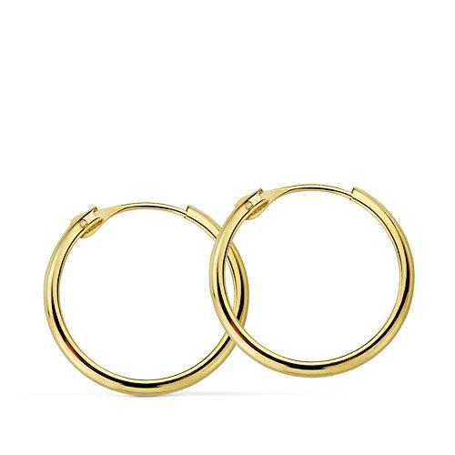 Pendientes oro amarillo Lupita 18mm 18 Ktes