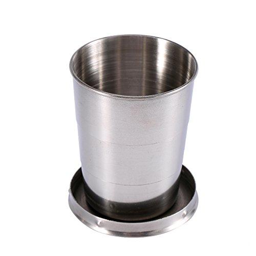 Taza plegable de viaje de acero inoxidable 240ML/140ML/75ML Taza plegable portátil de viaje al aire libre Taza plegable plegable Taza plegable retráctil(METRO)