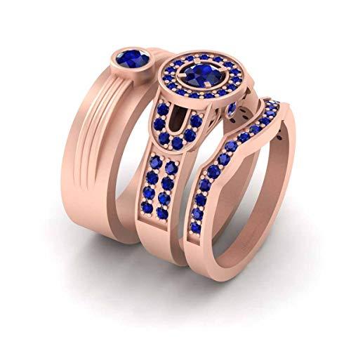Juego de anillos de compromiso para él y su promesa de plata de ley 925 con circonita azul clásico