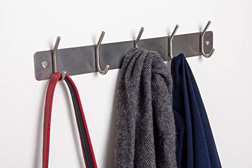 Malin-System - Wandgarderobe (inkl. Schrauben, Dübel und Abdeckkappen) - Hakenleiste aus rostfreiem Stahl Schlüsselhaken