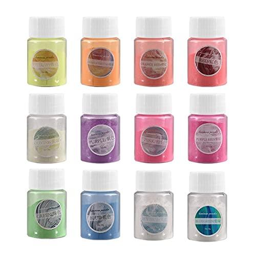 VIAIA 12 Botellas/Paquete Pigmento Luminoso Polvo Pigmento Pigmento Resplandor En Colorante Oscuro para DIY Epoxi UV Resina Joyería Haciendo Artesanía (Color : 12 Bottles)