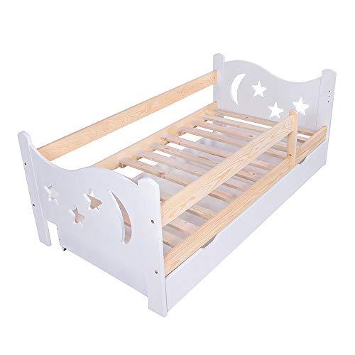 KAGU Cama infantil Chrisi con protección anticaídas, cama juvenil de madera con cajón (140 x 70 cm, madera de pino), color blanco