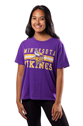 Ultra Game Women's NFL Distressed Graphics Soft Crew Neck Tee Shirt, Minnesota Vikings, Team Color, Medium